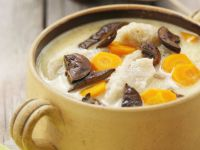 Soup with Carrots, Dried Mushrooms and Potato Noodles recipe