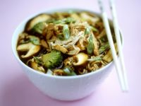 Soup with Egg Noodles, Vegetables, Mushrooms and Chicken, Chinese Style recipe