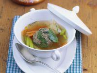Soup with Pretzel and Liver Dumplings recipe