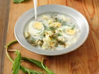 Soup with Sorrel, Potatoes and Eggs recipe