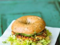 Soy Burgers on Toasted Bagels recipe
