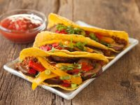 Soya Mince, Mushroom and Pepper Tacos recipe