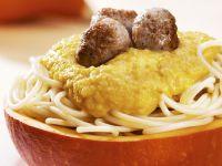 Spaghetti and Meatballs with Pumpkin Sauce recipe