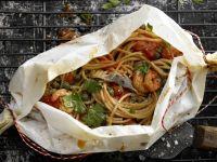 Spaghetti and Prawn Parcels recipe