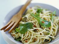 Spaghetti with Capers and Arugula