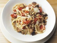 Spaghetti with Cherry Tomatoes, Eggplant and Pine Nuts recipe