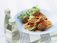 Spaghetti with Meatballs and Arugula recipe
