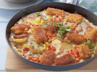 Spanish-style Tortilla with Potatoes, Corn, and Fish recipe