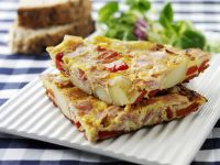 Potato, Ham, and Pepper Omelet recipe