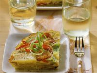 Spanish Tortilla with Peppers, Scallions and Bacon recipe