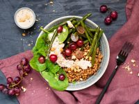 Spelt Spinach Bowl with Peanut Dressing recipe