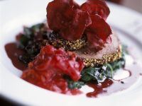 Spice-Crusted Beef Tenderloin with Beet Chips and Sautéed Beets recipe