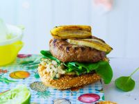 Spiced Burgers with Spinach, Peanut Butter and Banana recipe