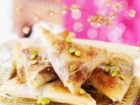 Spiced Fruit and Pigeon Filo Triangles recipe