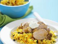 Spiced Saffron Rice with Pork recipe