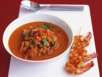 Spiced Tomato Soup with Prawn Kebabs recipe