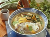Spicy Asian Soup with Glass Noodles, Meat and Vegetables recipe