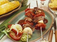 Spicy Beef Kebabs with Peppers and Onions recipe