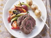 Spicy Beef Roulade with Vegetables and Potato Skewers recipe