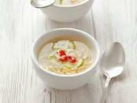 Spicy Chicken Broth with Noodles and Cucumber recipe