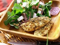 Spicy Chicken Fillets with Spinach Salad recipe