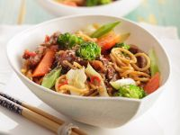 Spicy Egg Noodles with Steak recipe