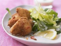 Spicy Lemony Fried Chicken with Salad recipe