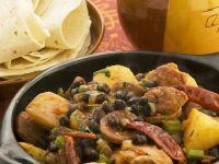 Spicy Spanish Sausage (Chorizo) with Black Beans and Potatoes recipe