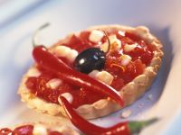 Spicy Tart with Olives and Mozzarella recipe