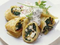 Spinach and Sheep's Cheese Pancakes recipe