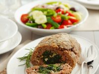 Spinach, Feta and Pine Nut Filled Meatloaf recipe