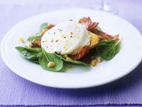 Spinach Leaves with Bacon and Goat Cheese recipe