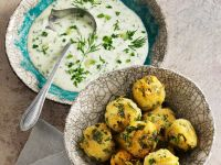 Spinach Pakoras with Yoghurt Dip recipe