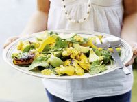 Spinach Salad with Avocado, Corn and Peppers recipe