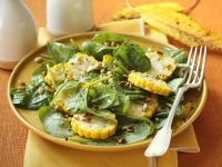 Spinach Salad with Corn and Pine Nuts recipe