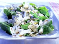 Spinach Salad with Mushrooms, Goat Cheese and Truffles recipe