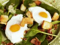 Spinach Salad with Pancetta, Croutons and Quail Eggs recipe
