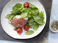 Spinach Salad with Prosciutto-Wrapped Perch recipe