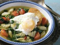 Spinach Soup with Poached Eggs