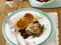 Spinach-Stuffed Veal Cutlets with Potato Pancakes recipe