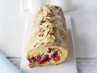 Sponge Cake Roll with Raspberry Filling