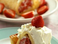 Sponge Cake Roll with Strawberry Cream Filling recipe