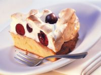 Sponge Cake with Cherry Meringue Topping recipe