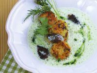 Spring Herb Soup with Morel-Potato Cakes recipe