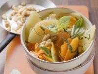 Spring Vegetables with Pine Nuts and Basil recipe