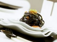 Squid Ink Linguine with Trout Roe recipe