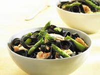 Squid Ink Pasta with Salmon and Asparagus recipe