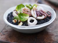 Squid Ink Rice with Seafood recipe