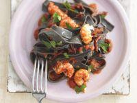 Squid Ink Tagliatelle with Shrimp recipe