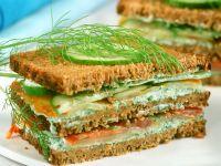 Stacked Smoked Salmon-Cucumber Sandwich recipe